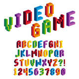 Isometric Pixel 3D Alphabet And Numbers Royalty Free Stock Photography