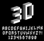 Isometric Pixel 3D Alphabet And Numbers. Vector Isometric Pixel 3D Alphabet And Numbers vector illustration