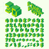 Isometric Pixel Font, Vector Letters, Alphabet. Green Isometric Pixel Font, Vector Letters, Alphabet stock illustration