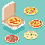 Isometric pizza. Isometric illustration of different pizza types for order and delivery service vector illustration