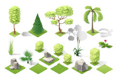 Isometric plants garden forest collection vector set Stock Image