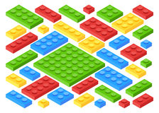 Isometric Plastic Building Blocks and Tiles Stock Photography