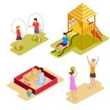 Isometric Playground Icon Set Stock Photos