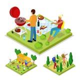 Isometric Plenerowa aktywność Rodzinny grilla grill, camping i Zdrowy styl życia i odtwarzanie ilustracja wektor