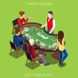 Isometric poker room vector concept. Player online Royalty Free Stock Photo