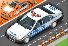 Isometric Police Car in Front View Royalty Free Stock Image
