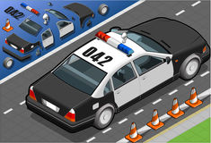Isometric Police Car in Rear View Royalty Free Stock Photography