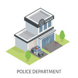 Isometric police department building. Patrol car Royalty Free Stock Photo