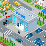 Isometric Police Department Building with Policeman and Police Car Stock Photo