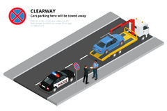 Isometric police fines car design flat . 3D car on Tow truck, police officer traffic, policeman person fines. Transportation driver fines, fines transport Royalty Free Stock Image