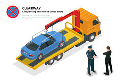Isometric police fines car design flat . 3D car on Tow truck, police officer traffic, policeman person fines Royalty Free Stock Photo