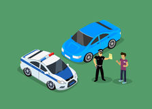 Isometric Police Fines Car design Flat. 3D fine car, police officer traffic, policeman person fines, 3d transportation driver fines,  fines transport, sheriff Royalty Free Stock Images
