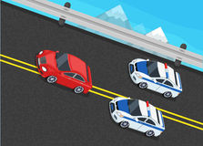Isometric Police Fines Car design Flat Isolated. 3D fine car, police officer traffic, policeman person fines, 3d transportation driver fines,  fines transport Stock Photo