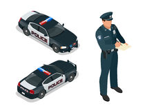 Isometric Police officer and police car with siren light blinking. Police officer in uniform. Modern police car Royalty Free Stock Photography