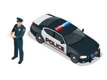 Isometric Police officer and police car with siren light blinking. Police officer in uniform. Modern police car Royalty Free Stock Photos