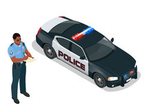 Isometric Police officer and police car with siren light blinking. Police officer in uniform. Modern police car Stock Photography