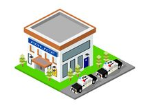 Isometric Police Station Building with Cars. And landscape, eps vector format, jpeg Royalty Free Stock Images