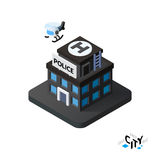 Isometric police station icon, building city infographic element, vector illustration Royalty Free Stock Images