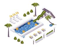 Isometric pool scene with palm trees, water slide, deck chairs. For hotels, cottages, water and aqua park