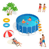Isometric Portable plastic swimming pool and people Royalty Free Stock Images