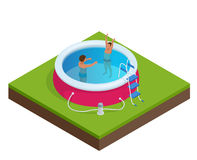 Isometric Portable plastic swimming pool Stock Photography