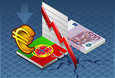 Isometric portugal crisis. Detailed illustration of a isometric concept of economic depression of portugal Stock Photography