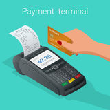 Isometric Pos terminal confirms the payment by debit credit card Stock Photography