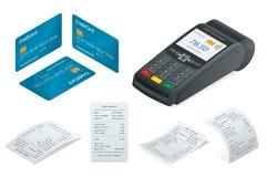 Isometric POS Terminal, debit credit card, Sales printed receipt. POS Terminal, debit credit card, Sales printed receipt. Isometric illustration. Credit card Stock Photos