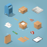 Isometric postal delivery illustration. Isometric vector postal delivery objects set. Illustration of mailbox, cardboard box, newspaper, letters, open box with Royalty Free Stock Image