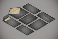 Isometric postal envelope set on white background. Vector realistic illustration concept for delivery service royalty free illustration