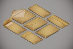 Isometric postal envelope set on white background. Vector realistic illustration concept for delivery service vector illustration