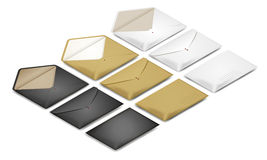 Isometric postal envelope set on white background. Vector realistic illustration concept for delivery service stock illustration