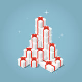 Isometric present boxes. Isometric vector present box illustration. The christmas or birthday surprise concept. Sale concept. Bunch of isometric opened gift box Royalty Free Stock Photo