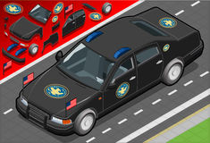 Isometric Presidential Limousine in Front View Royalty Free Stock Image