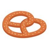 Isometric pretzel. Isometric illustration of pretzel isolated on white background royalty free illustration