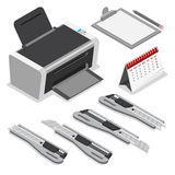 Isometric printer clipboard calendar knife vector. Isometric laser ink printer clipboard calendar office paper knife pencil vector icon set. Flat 3d isometry Stock Images