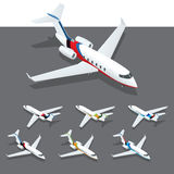Isometric private jet. Isometric infographic elements set representing commercial passenger airplanes. Different classes of jet and propeller engine airplanes Royalty Free Stock Photography