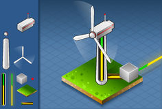 Isometric production of energy through wind turbin. Detailed illustration of a isometric production and transport of energy through wind turbine Stock Photos