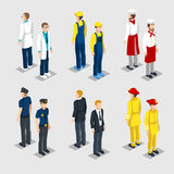 Isometric Professions Collection. With male doctor painter chef policeman manager firefighter isolated vector illustration Stock Photo