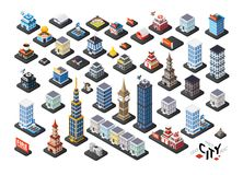 Isometric projection of 3D buildings royalty free illustration