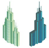 Isometric projection of a high building Royalty Free Stock Photography