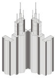 Isometric projection of a high building Royalty Free Stock Images