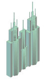 Isometric projection of a high building Stock Photos