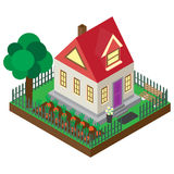 The private house in an isometric projection.. A vector picture of the private country house isolated on a white background Stock Photo