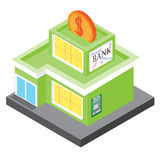 The bank building in an isometric projection. Vector 3D model on a white background Stock Image
