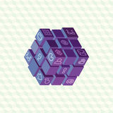 Isometric projection infographic array of cubes Royalty Free Stock Photos