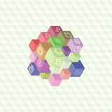 Isometric projection infographic array of cubes Stock Photo