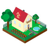 Isometric projection of the private house. Royalty Free Stock Images