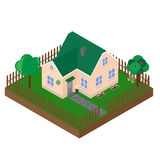 Isometric projection of the private house. Royalty Free Stock Photos