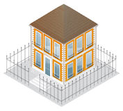 Isometric projection of a two-storey building Royalty Free Stock Photography